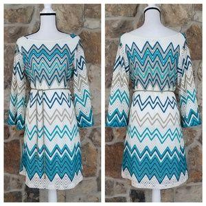 NEW Sharagano 14 Zig Zag Knit Belted Dress